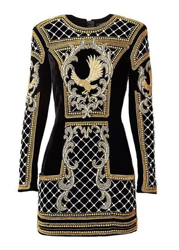 Balmain x H&M collaboration - long sleeves and higher neckline to balance the super short length
