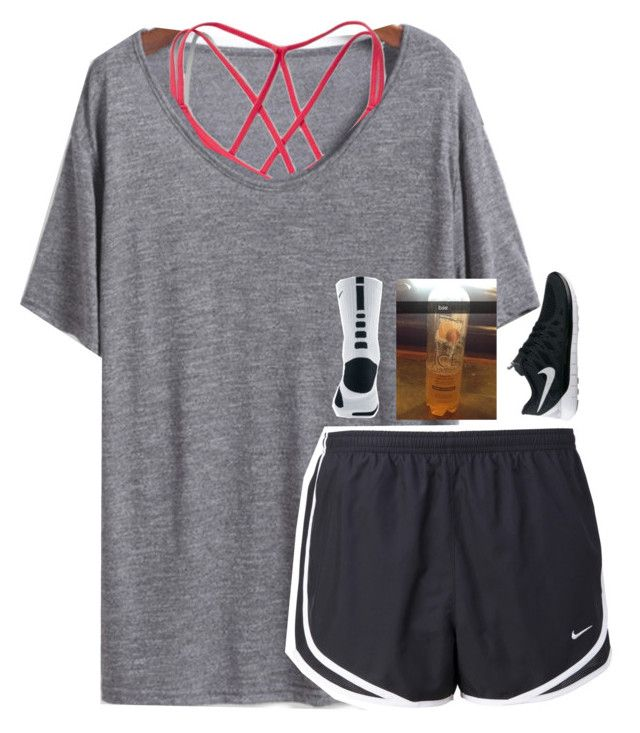 """exact oorn:)"" by lydia-hh ❤ liked on Polyvore featuring Abercrombie & Fitch and NIKE"