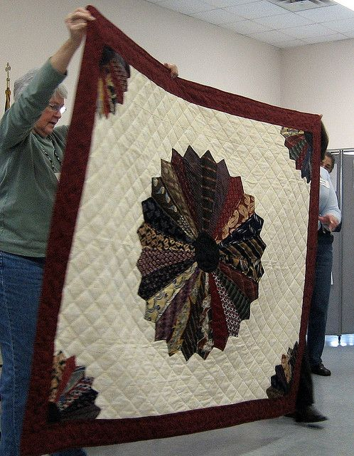 Quilt - Could be a great memory quilt for a man with a lot of ties. I don't know that I would ever do this, but is a great way to use those old ties
