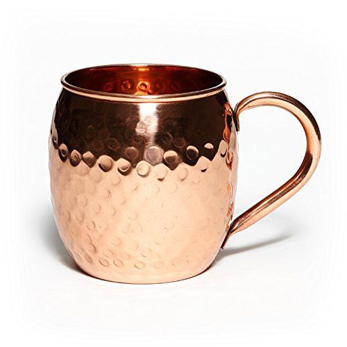Moscow Mule Copper Mug - 100% Pure Solid Copper Mug 16oz Unlined Handcrafted Barrel Hammered Copper Cup By Mint Meets Ginger