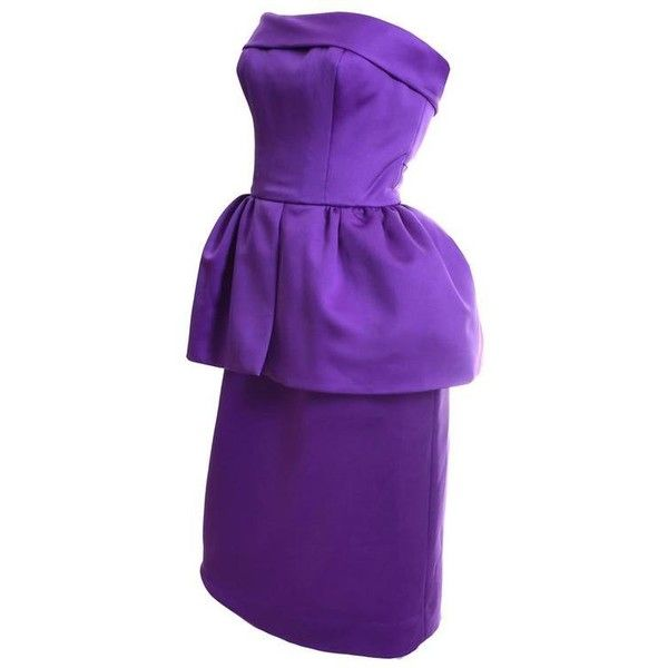 Preowned Victor Costa Purple Strapless Vintage Dress Bolero Jacket... ($495) ❤ liked on Polyvore featuring dresses, purple, vintage dresses, strapless cocktail dresses, evening cocktail dresses, purple evening dresses and peplum cocktail dress