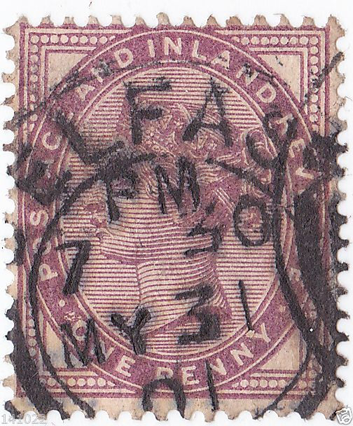 STAMP 1881 QUEEN VICTORIA UK-GREAT BRITAIN BELFAST ONE PENNY
