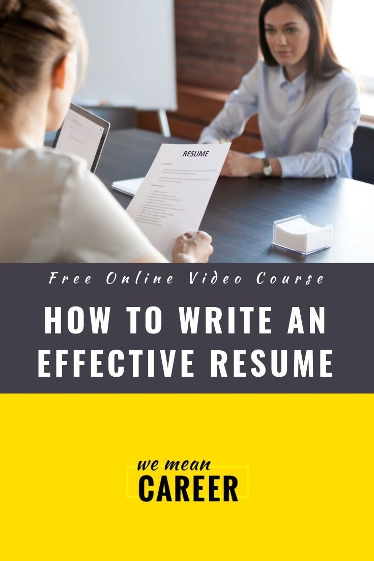 Free Online Course How To Write A Great Resume Get The