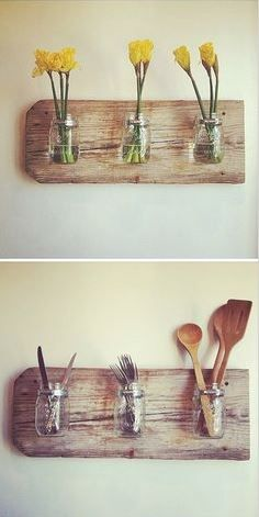 No room for pretty flowers in your kitchen?   We found the perfect solution! Secure mason jars to a wooden board to create a unique feature piece.