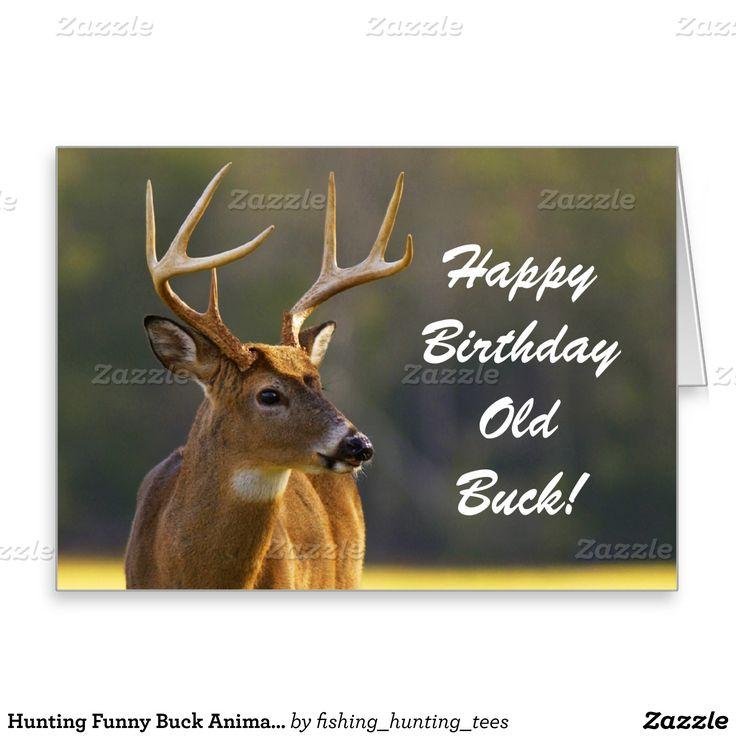 Hunting Funny Buck Animal Camo Happy Birthday 3 Card