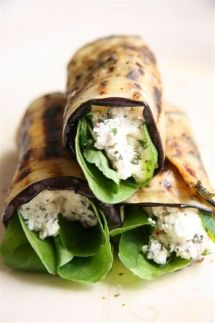 Rolled aubergine with ricotta and chilli