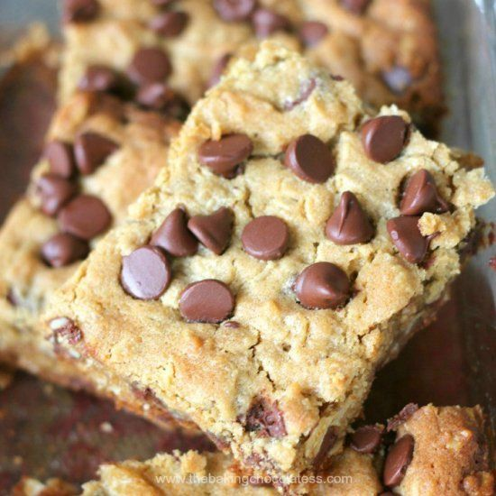 Delish Chocolate Chip Peanut Butter Oatmeal Bars are in the house  Healthy ish too