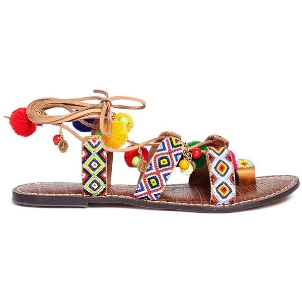 Sam Edelman 'Lisabeth' pompom beaded lace-up sandals ($165) ❤ liked on Polyvore featuring shoes, sandals, brown lace up sandals, brown shoes, pom pom shoes, tribal shoes and brown sandals