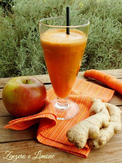 Questo centrifugato alla carota e zenzero è un vero concentrato di vitamine altamente depurativo. Favorisce anche l'abbronzatura e protegge la pelle.
