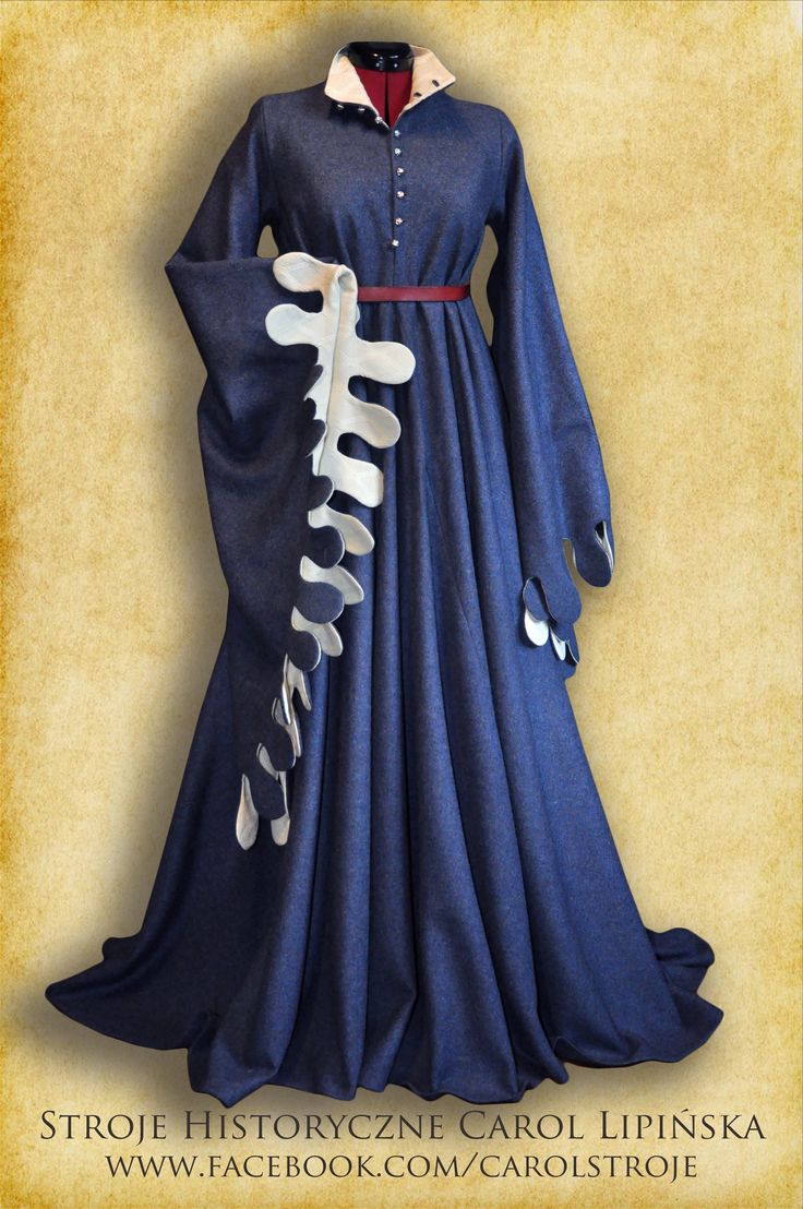 Female XV century, medieval dress houppelande (hopelande) Woolen dress with silk lining