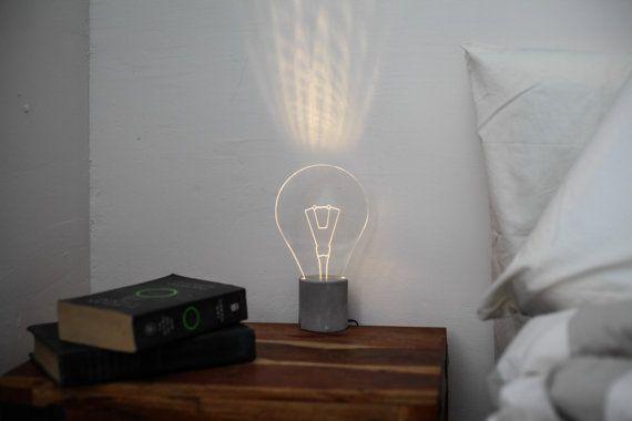 Concrete bedside lamp, lightbulb lamp, modern LED lamp