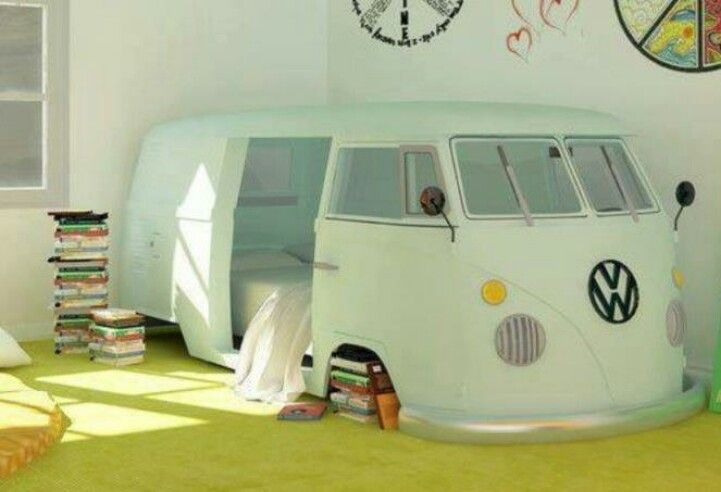 I am pinning this because how could anyone not want a VW bus bed?