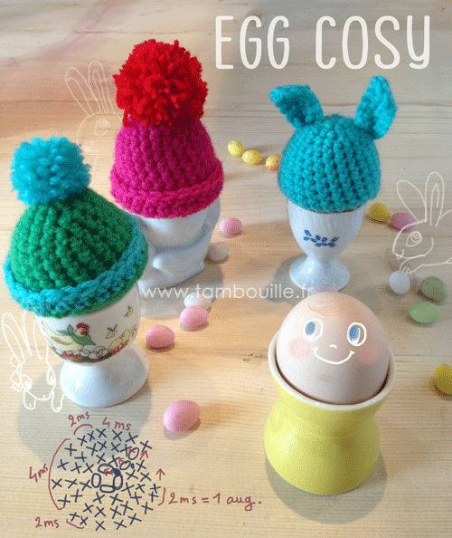 Egg cosy tutorial, in French by Tambouille. Couldnt find the pattern. But keep browsing if desperate 07.07.15