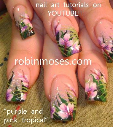 "Nail-art by Robin Moses: ""tropical nails"" ""nail art"" ""tropical design"" ""tropical short nail"" ""vacation nails"" ""tropical neon"" design tutorial how to diy robin moses ""hibiscus nails"" ""iris nails"""