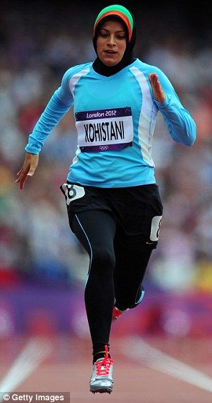 The 100m sprinter Tahmina Kohstani, 23, of Afghanistan runs in a hijab and long clothing to conform with Islamic modesty laws