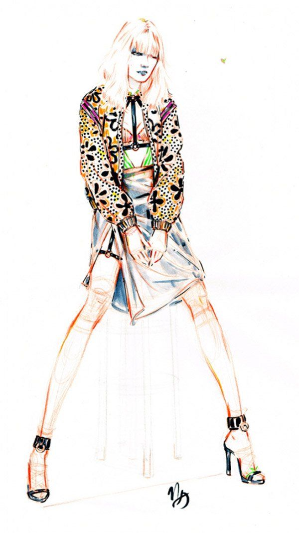 Fashion sketches by Nicole Guice - In contrast to the first one, this sketch is bright and colorful. Interesting and even ethnic prints are opposed to the modern and eccentric dress. In any case, unusual shapes and bright colors create amazing composition.