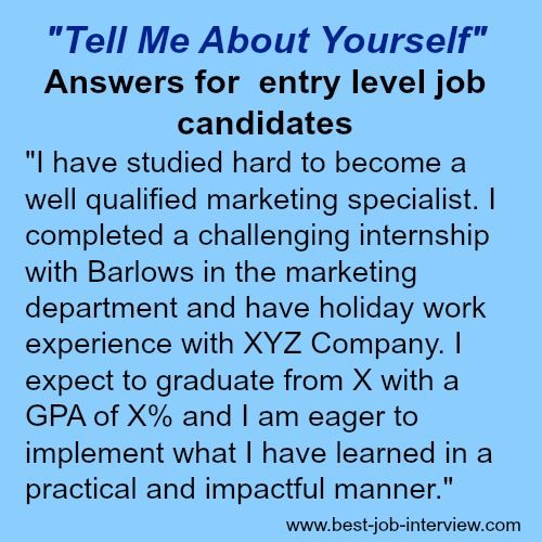 tell me about yourself the right answer job search job