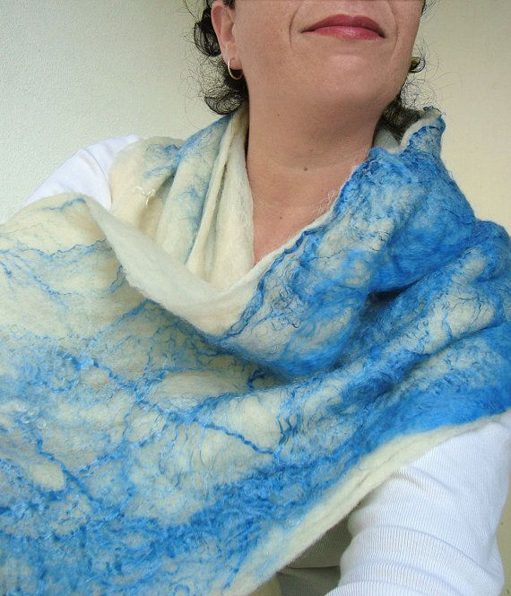 cobweb felted scarf white night by QaraQul on Etsy
