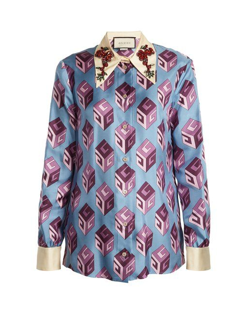 0bd7eaf7 Gucci GG Wallpaper-print embellished collar silk blouse | Button ...