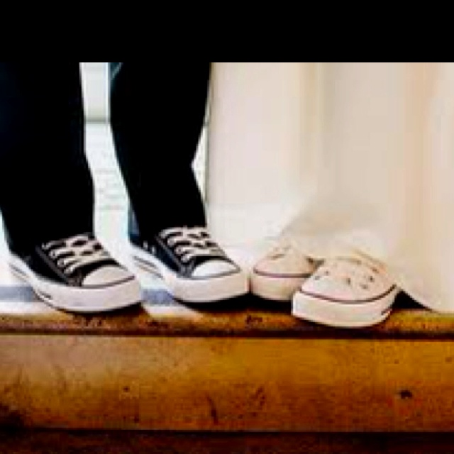 Bride and Groom converse. We will definitely be wearing Chucks on our wedding day. Think mine will be my something blue like my favorite race car!