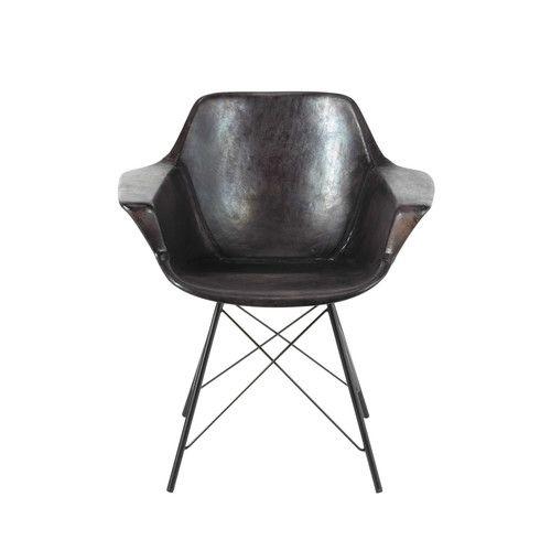 fauteuil guariche en cuir noir vampire maisons du monde 329 90 lights furniture pinterest. Black Bedroom Furniture Sets. Home Design Ideas
