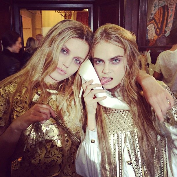 Georgia May Jagger and Cara Delevingne backstage at Giles Deacon LFW Fall 2013