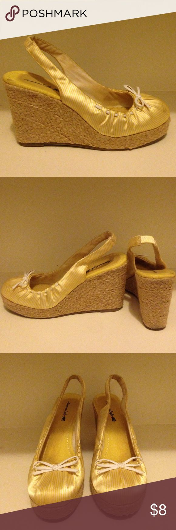 Yellow espadrilles (wedges) 💛 These are size 6 espadrilles in good condition. I love them, just don't have anything that matches them. They have only been worn a few times! American Eagle by Payless Shoes Espadrilles