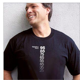 Helvetica Neue Descending a t-shirt. A shirt I designed for my venture TypographyShop. On reprint sale.