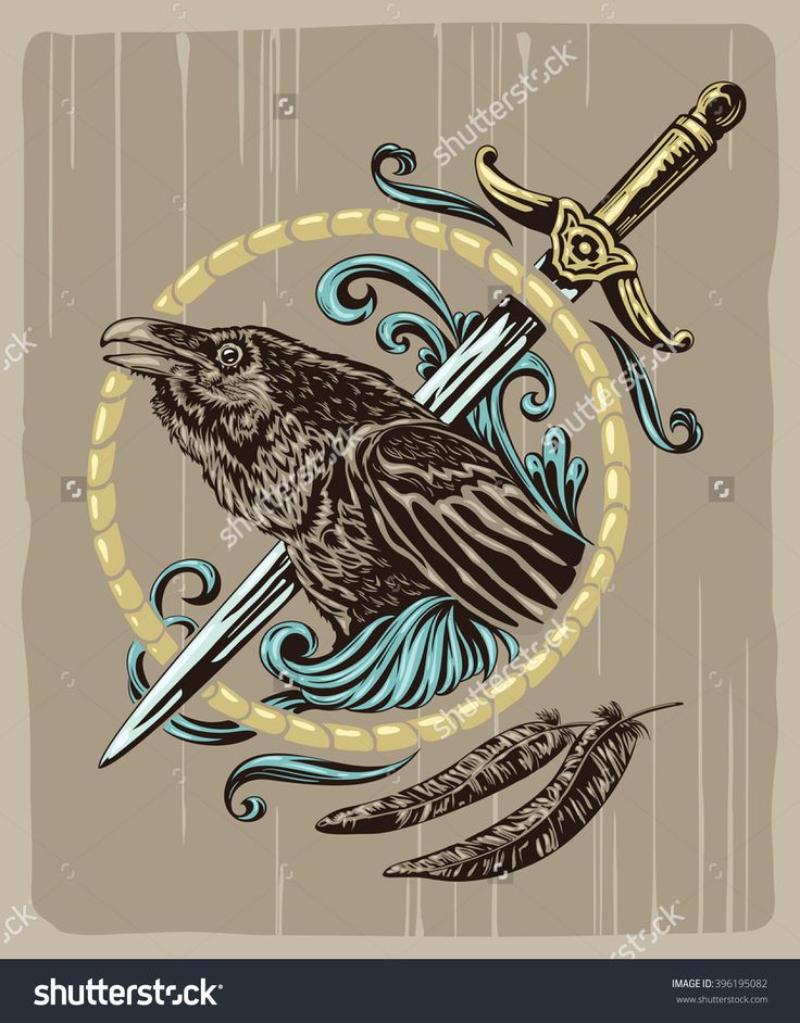 Raven & dagger vector illustration. T-shirt vector illustration. Poster vector illustration. Tattoo vector illustration. Sticker design illustration.