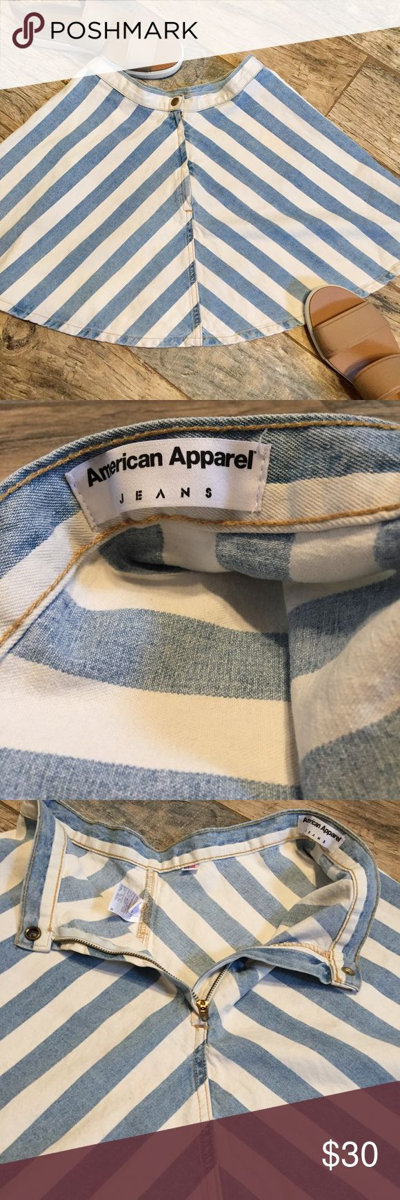 American Apparel Denim Striped Circle/Skater Skirt NWOT! Approx measurements when laid flat = 15 in from button to bottom hem, 14 in side to side at waist (so approx 28 all the way around). American Apparel Skirts Circle & Skater