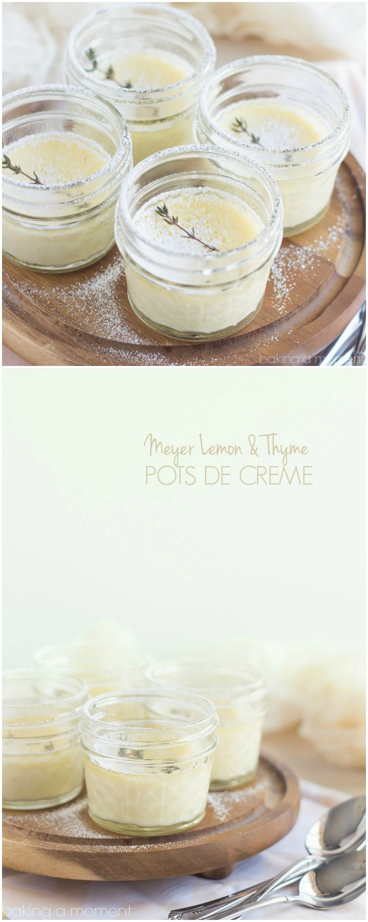 Delicate little Pots de Creme infused with Seasonal Meyer Lemon and Fresh Thyme, this dessert is like a whisper-light breath of Spring! So good you won't believe this Easy recipe is Low-Carb and Gluten Free. ~ http://bakingamoment.com