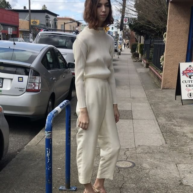 "SOLD Vintage Issey Miyake pleated long sleeve mock neck, pre pleats please / fits size M / $64 + shipping / SOLD Vintage silk snow white trousers, fully lined / fits size 28"" x 29"" / $44 + shipping / please comment with zip code or country to purchase"