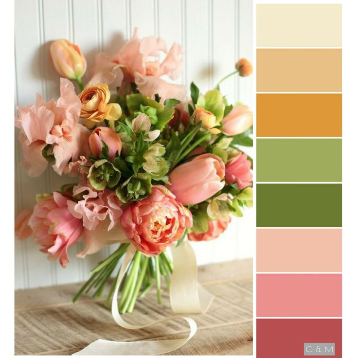 Gold, green, and pink palette from a flower arrangement.