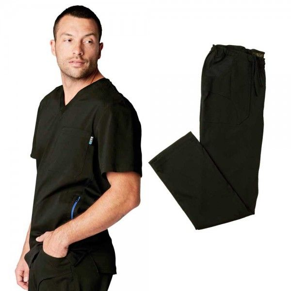 Koi Lite Men's Set in Black. This athletic-style set is made from super soft, durable, lightweight fabric. The set is moisture wicking and breathable giving you excellent movement and comfort.£59.99 #menscrub #dentistscrub #nursescrubs #blackscrub