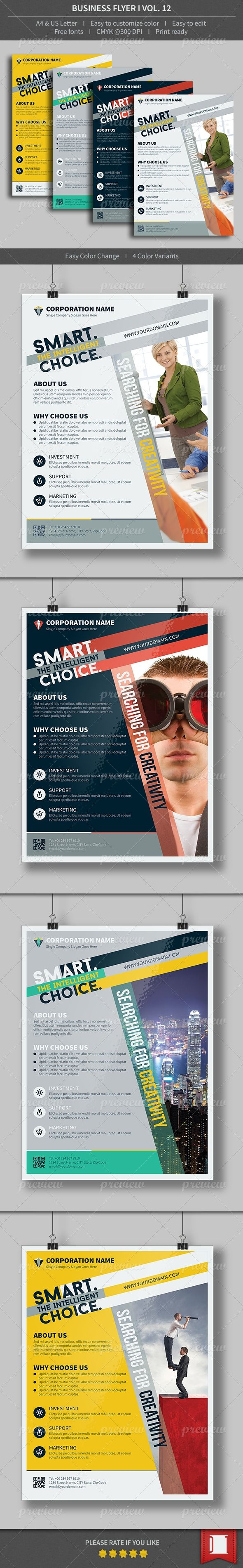 17 best images about magazine flyer creative a modern and mini stic corporate flyer template 4 color variants this layout is not limited for a single business it can be used for different
