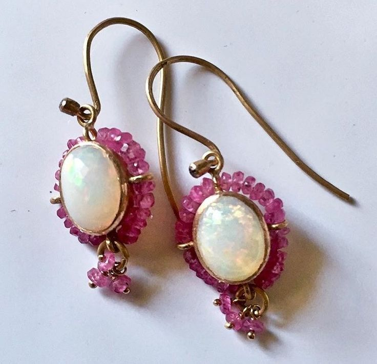 Earrings 18 ct gold with opals, pink sapphire and diamonds Lautropjewellery