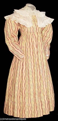 1825 to 1830 lady's brightly printed muslin dress with a separate muslin fichu collar. The bodice is lined in linen, piped at the top of the shoulder seams, the armscyes, waistband, and at the curved seams of the back of the bodice. Fashionable full sleeves that taper to the wrists. The unlined skirt has a directional and box pleated waistband, and one tuck above the turned hem. A front opening with no fasteners, as made. A recent museum de-accession.  Offered on Ebay