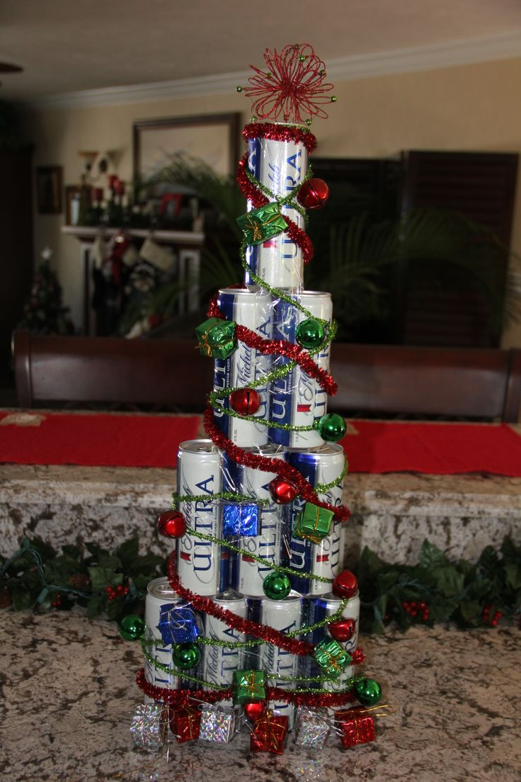 I Created This Christmas Tree Out Of Full Cans Of Beer For