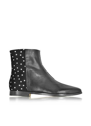 Zoe+Lee+Creola+Black+Leather+and+Suede+Bots+w/Silver+Stars