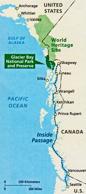 Map of the Inside Passage to the Glacier Bay National Park and Preserve. Kluane / Wrangell-St Elias / Glacier Bay / Tatshenshini-Alsek | Canada & United States of America