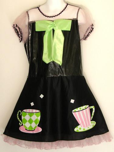 Alice in Wonderland Tea Party Dress Costume Girls Size M 10 Pink Hat Dress Up