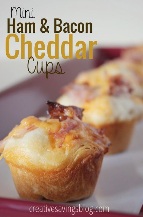 Mini appetizers are some of my favorite foods, and these Ham and Bacon Cheddar Cups are hearty enough to hit the spot. Perfect for game day snacking!