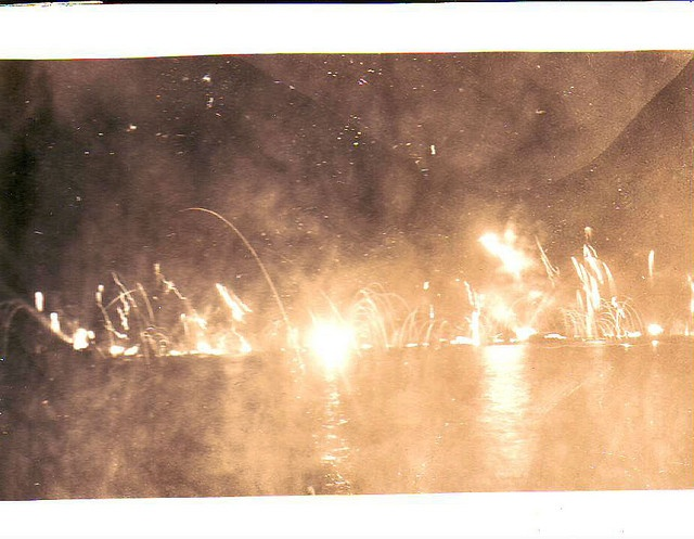 On Sept 2, 1945, after the Japanese surrendered to the US, Navy ships set off artillery shells as fireworks.