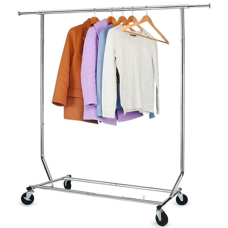 250 Lbs Load Capacity Commercial Grade Clothing Garment Racks Heavy Duty Sing Rail Adjustable Collapsible Rolling Clothes Rack, Chrome Finish