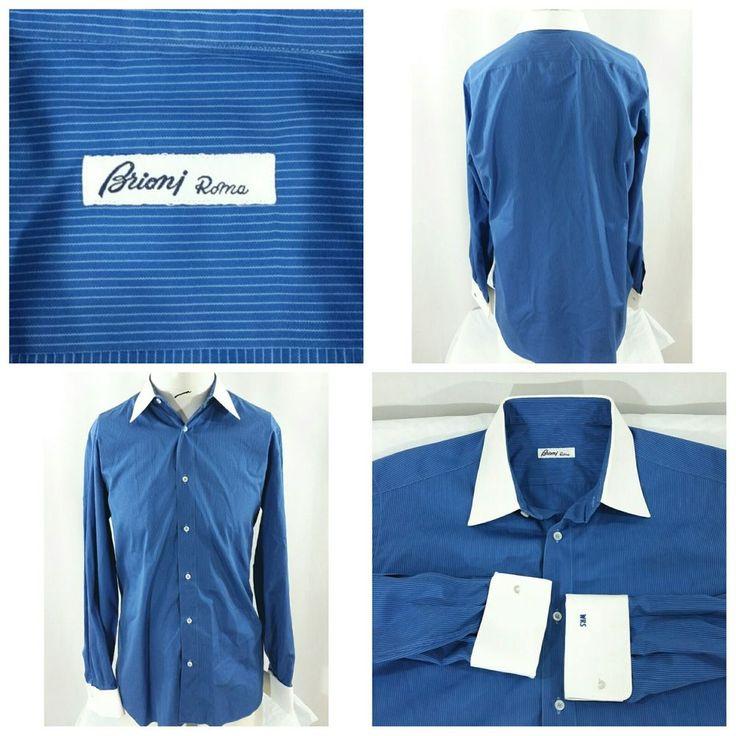 Brioni Roma Dress Shirt French Cuff Blue Stripe White Collar/Cuffs Size 41/16  #Brioni