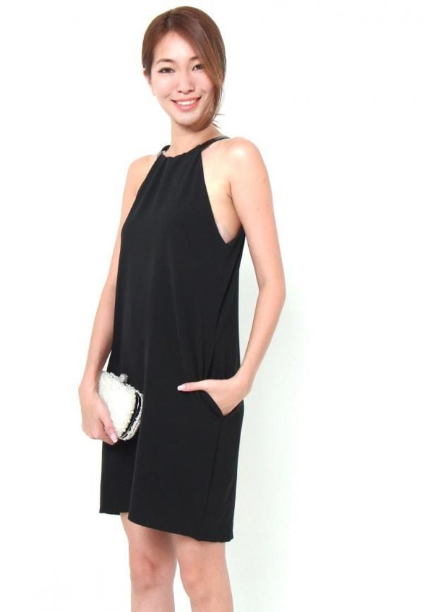"""Channel the biker chic look with black and leathers. It's high collar and back key hole design makes it a perfect minimalistic dress. Complete the look with rougue red lippie and you are good strut the runway. Go elegant by pairing it with pearls and diamontes as featured by our model with the Euston clutch Features polyester blend. Leather collar features 2 notches for adjusted wearing S: PTP: 16"""", Waist: 17"""", Hip: 18"""" Length: 31.5""""Fits up to UK8M: PTP: 17"""", Waist: 18"""", Hip: 19"""" Length…"""