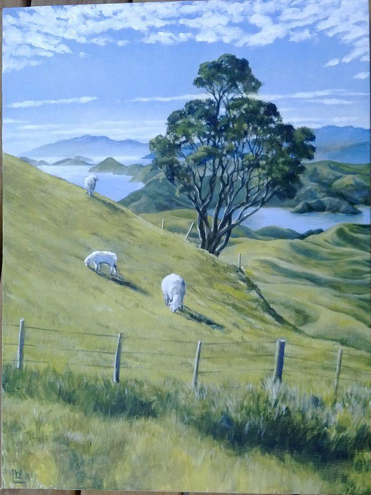 Sheep grazing across the coromandel Acrylic on canvas