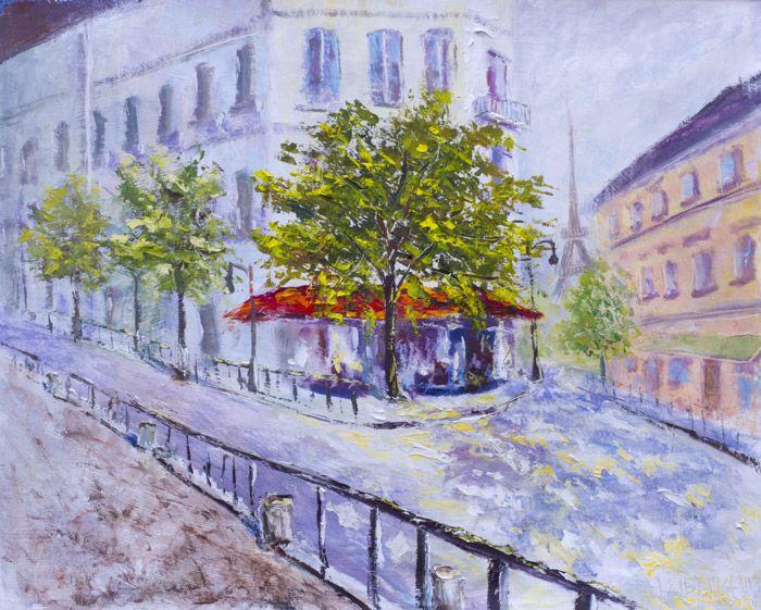 """Парижская картина маслом: """"Солнечное кафе в центе Парижа"""""""