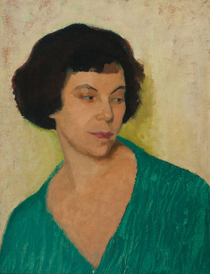 """Miss Lockerby,"" (c. 1924, private collection) is a portrait of Heward's friend, the artist Mabel Lockerby. This work is exemplary of Heward's early paintings of women, which tend to depict solitary figures with a muted palette in nondescript settings."