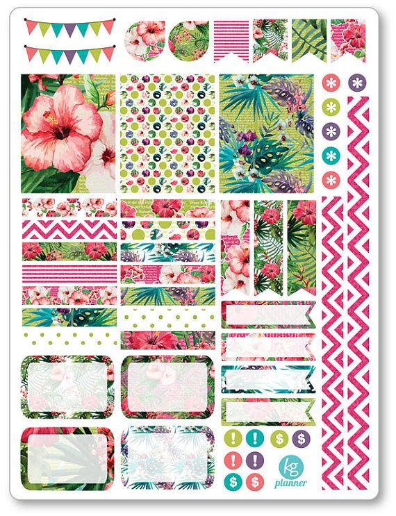 Tropical Decorating Kit / Weekly Spread Planner Stickers for Erin Condren…